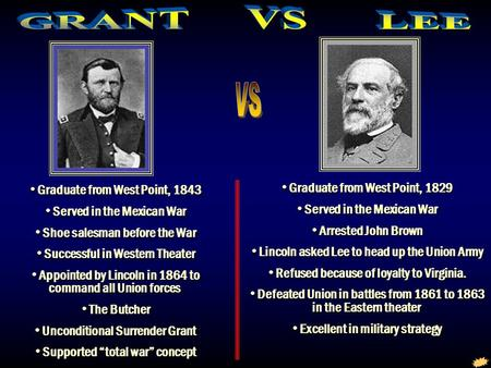 Grant vs Lee Graduate from West Point, 1843 Served in the Mexican War Shoe salesman before the War Successful in Western Theater Appointed by Lincoln in.