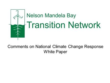 Comments on National Climate Change Response White Paper.