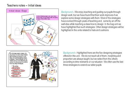 Teachers notes – Initial ideas Background – We enjoy teaching and guiding our pupils through design work, but we have found that their work improves if.