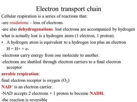 Electron transport chain Cellular respiration is a series of reactions that: -are oxidations – loss of electrons -are also dehydrogenations lost electrons.