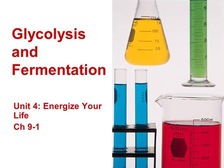 Glycolysis and Fermentation Unit 4: Energize Your Life Ch 9-1.