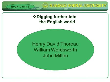  Digging further into the English world Book IV unit 5 Henry David Thoreau William Wordsworth John Milton.