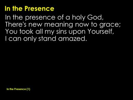 In the Presence In the presence of a holy God, There's new meaning now to grace; You took all my sins upon Yourself, I can only stand amazed. In the Presence.