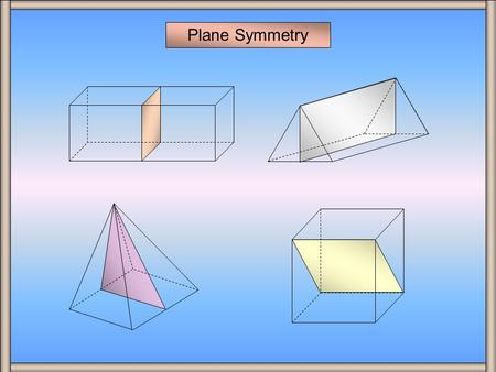 Plane Symmetry A plane of symmetry divides a three dimensional shape into two congruent halves that are mirror images of each other. A Cuboid A Cuboid.
