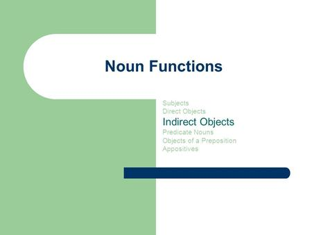 Noun Functions Subjects Direct Objects Indirect Objects Predicate Nouns Objects of a Preposition Appositives.