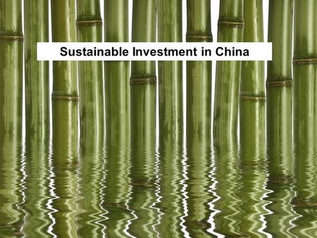 1 Sustainable Investment in China. 2 About me Studied Business – but no interest in finance In China for 8 years – started in NGOs Now working at BSR.
