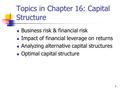 1 Topics in Chapter 16: Capital Structure Business risk & financial risk Impact of financial leverage on returns Analyzing alternative capital structures.