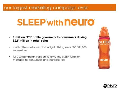 Our largest marketing campaign ever 1 1 million FREE bottle giveaway to consumers driving $2.5 million in retail sales multi-million dollar media budget.