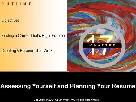 Learning Objective Chapter 17 Assessing Yourself and Planning Your Resume Copyright © 2001 South-Western College Publishing Co. Objectives O U T L I N.