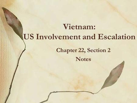 Vietnam: US Involvement and Escalation Chapter 22, Section 2 Notes.