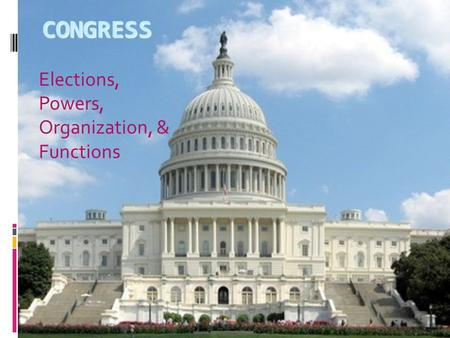 CONGRESS Elections, Powers, Organization, & Functions.