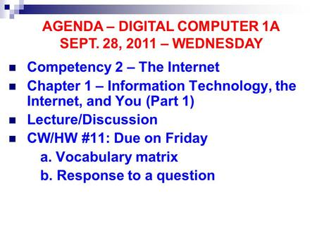 Competency 2 – The Internet Chapter 1 – Information Technology, the Internet, and You (Part 1) Lecture/Discussion CW/HW #11: Due on Friday a. Vocabulary.