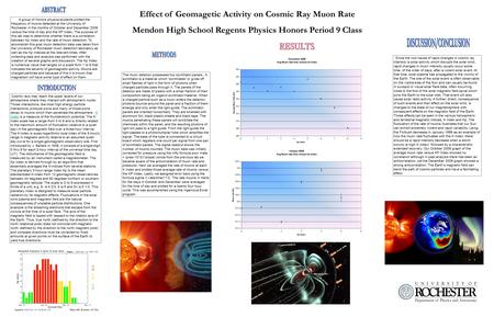 Effect of Geomagetic Activity on Cosmic Ray Muon Rate Mendon High School Regents Physics Honors Period 9 Class A group of Honors physics students plotted.