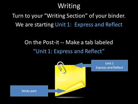 "Writing Turn to your ""Writing Section"" of your binder. We are starting Unit 1: Express and Reflect On the Post-it -- Make a tab labeled ""Unit 1: Express."