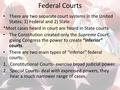 Federal Courts There are two separate court systems in the United States: 1) Federal and 2) State *Most cases heard in court are heard in State courts.