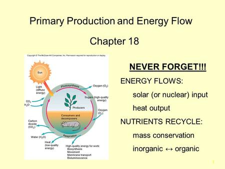 1 Primary Production and Energy Flow Chapter 18 NEVER FORGET!!! ENERGY FLOWS: solar (or nuclear) input heat output NUTRIENTS RECYCLE: mass conservation.