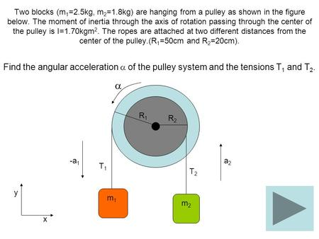 Two blocks (m 1 =2.5kg, m 2 =1.8kg) are hanging from a pulley as shown in the figure below. The moment of inertia through the axis of rotation passing.