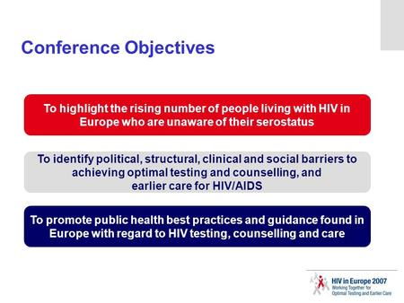 Conference Objectives To highlight the rising number of people living with HIV in Europe who are unaware of their serostatus To identify political, structural,