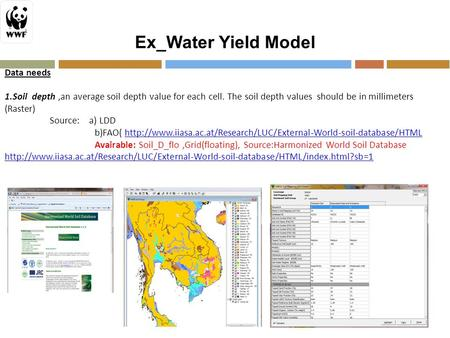 Ex_Water Yield Model Data needs 1.Soil depth,an average soil depth value for each cell. The soil depth values should be in millimeters (Raster) Source: