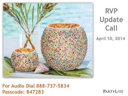 April 10, 2014 RVP Update Call For Audio Dial 888-737-5834 Passcode: 847283.