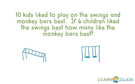 10 kids liked to play on the swings and monkey bars best. If 6 children liked the swings best how many like the monkey bars best?