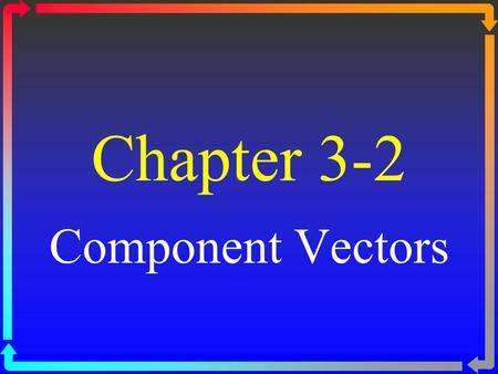 Chapter 3-2 Component Vectors. Pythagorean Theorem If two vectors are at a 90 0 angle, use the Pythagorean Theorem to find the resultant vector. C 2 =