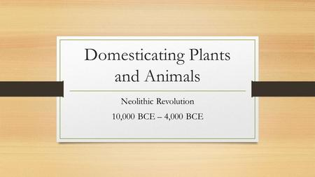Domesticating Plants and Animals Neolithic Revolution 10,000 BCE – 4,000 BCE.