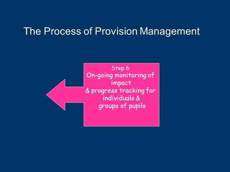 Step 6 On-going monitoring of impact & progress tracking for individuals & groups of pupils The Process of Provision Management.
