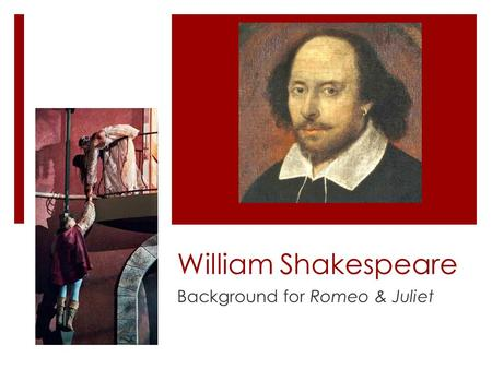 William Shakespeare Background for Romeo & Juliet.