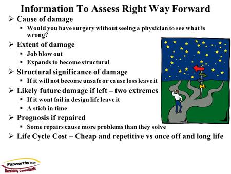 Information To Assess Right Way Forward  Cause of damage  Would you have surgery without seeing a physician to see what is wrong?  Extent of damage.