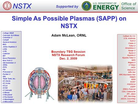 Simple As Possible Plasmas (SAPP) on NSTX Adam McLean, ORNL Boundary TSG Session NSTX Research Forum Dec. 2, 2009 NSTX Supported by College W&M Colorado.