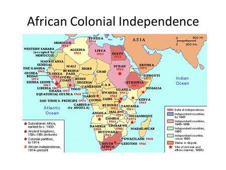 African Colonial Independence. Pan Africanism African unity arising from African nationalism moved some nations to become independent from European control.