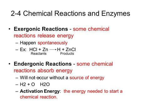 Exergonic Reactions - some chemical reactions release energy –Happen spontaneously –Ex: HCl + Zn H + ZnCl Endergonic Reactions - some chemical reactions.