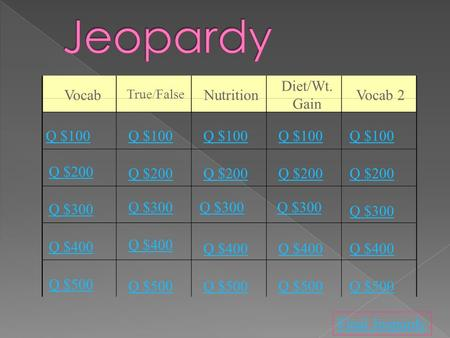 Q $100 Q $200 Q $300 Q $400 Q $500 Q $100 Q $200 Q $300 Q $400 Q $500 Final Jeopardy Vocab True/False Nutrition Diet/Wt. Gain Vocab 2.