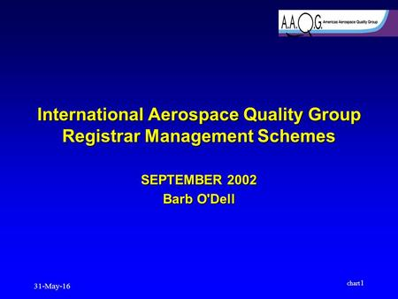 31-May-16 chart 1 International Aerospace Quality Group Registrar Management Schemes SEPTEMBER 2002 Barb O'Dell.