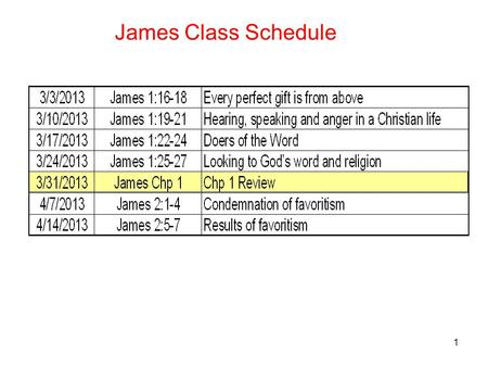 1 James Class Schedule. 2 Greetings and Intro to testing of your Faith 1 James, a bond-servant of God and of the Lord Jesus Christ, to the twelve tribes.