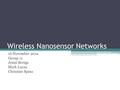 Wireless Nanosensor Networks 16 November 2012 Group 11 Jenni Beetge Mark Lucas Christine Spina.