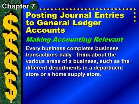 Posting Journal Entries to General Ledger Accounts Making Accounting Relevant Every business completes business transactions daily. Think about the various.