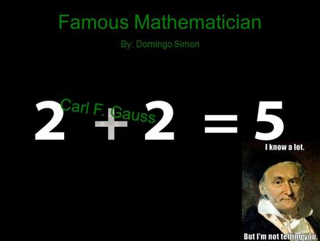 Famous Mathematician By: Domingo Simon Carl F. Gauss.
