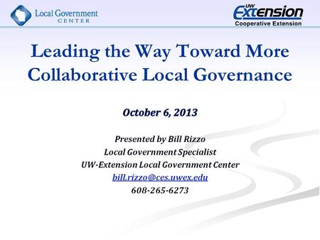 Leading the Way Toward More Collaborative Local Governance.