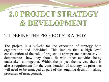 2.1 DEFINE THE PROJECT STRATEGY The project is a vehicle for the execution of strategy both organization and individual. This implies that a high level.