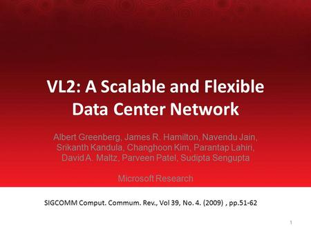 VL2: A Scalable and Flexible Data Center Network Albert Greenberg, James R. Hamilton, Navendu Jain, Srikanth Kandula, Changhoon Kim, Parantap Lahiri, David.