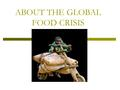 ABOUT THE GLOBAL FOOD CRISIS. Malnutrition around the world is nothing new…what is new is the inability of millions of already undernourished people to.