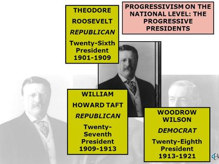 PROGRESSIVISM ON THE NATIONAL LEVEL: THE PROGRESSIVE PRESIDENTS THEODORE ROOSEVELT REPUBLICAN Twenty-Sixth President 1901-1909 WILLIAM HOWARD TAFT REPUBLICAN.