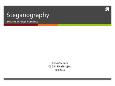  Steganography security through obscurity Ryan Zoellner CS 534 Final Project Fall 2013.