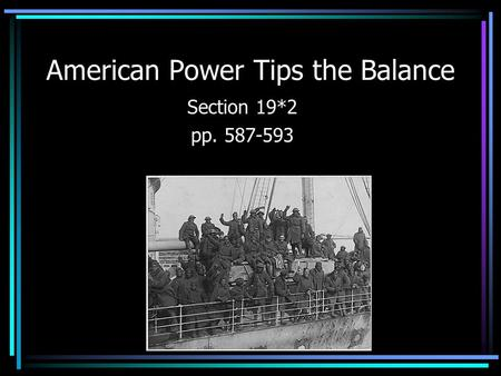 American Power Tips the Balance Section 19*2 pp. 587-593.