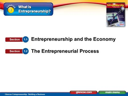 What is Entrepreneurship? Glencoe Entrepreneurship: Building a Business 1 1 Entrepreneurship and the Economy The Entrepreneurial Process 1.1 Section 1.2.