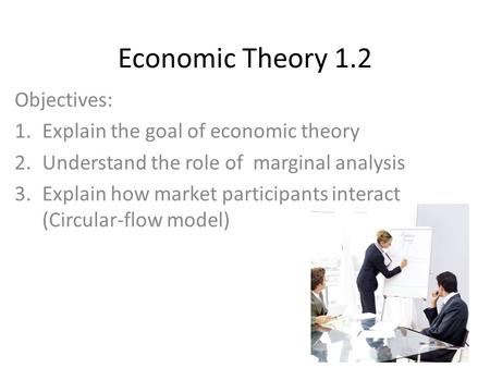 Economic Theory 1.2 Objectives: 1.Explain the goal of economic theory 2.Understand the role of marginal analysis 3.Explain how market participants interact.