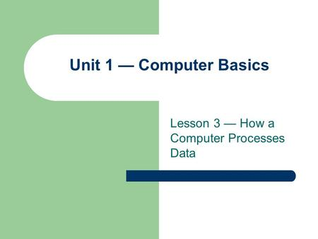 Lesson 3 — How a Computer Processes Data Unit 1 — Computer Basics.