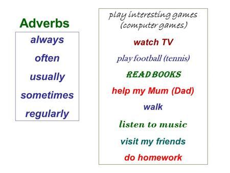Always often usually sometimes regularly play interesting games (computer games) watch TV play football (tennis) read books help my Mum (Dad) walk listen.